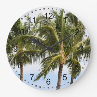 Kauai Palm trees Large Clock