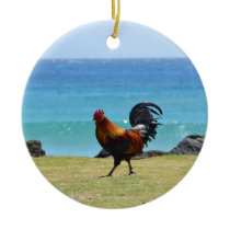 Kauai rooster ceramic ornament