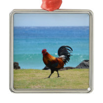 Kauai rooster metal ornament