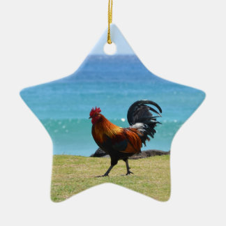 Kauai rooster Double-Sided star ceramic christmas ornament