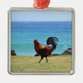 Kauai rooster square metal christmas ornament