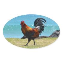 Kauai rooster oval sticker