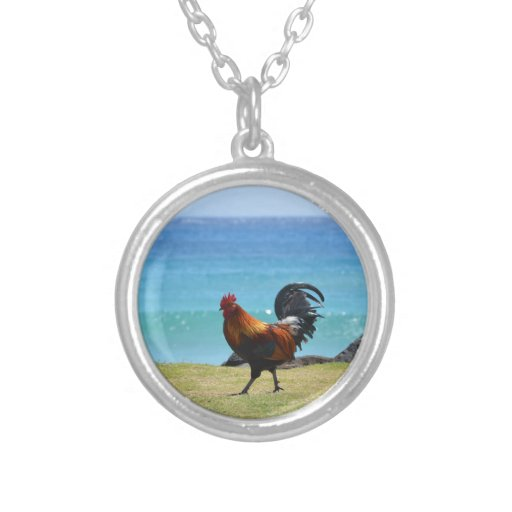 Kauai rooster round pendant necklace