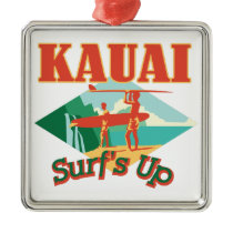 Kauai Surfs Up Metal Ornament