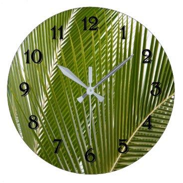 Beach Themed Kauai Tropical Palm Tree Leaves Large Clock