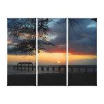 Kauai Waimea Pier Sunset Stretched Canvas Print