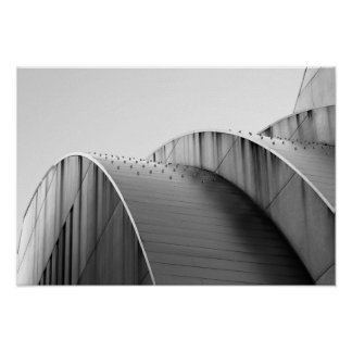 Kauffman Center Black and White Curves Kansas City Poster