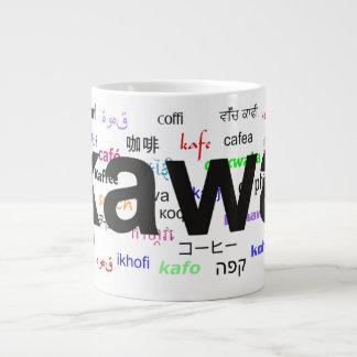 kawa - Coffee in Polish, black. Multi. Giant Coffee Mug