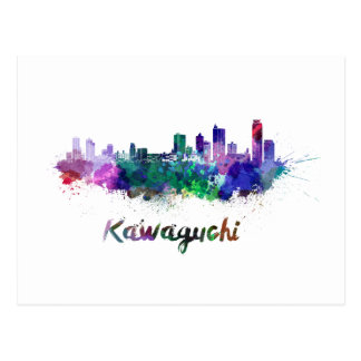 Kawaguchi skyline in watercolor postcard