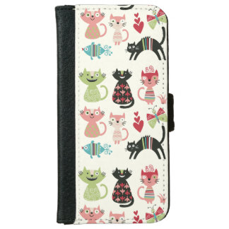 kawai,cute,cats,butterflies,fish,hearts,fun,happy, iPhone 6 wallet case