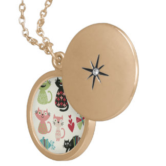 kawai,cute,cats,butterflies,fish,hearts,fun,happy, round locket necklace