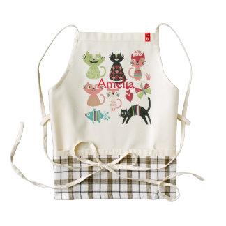 kawai,cute,cats,butterflies,fish,hearts,fun,happy, zazzle HEART apron