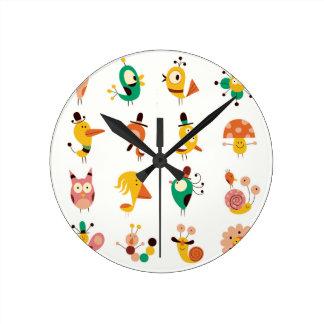 kawai, de moda, femenino, diversión, tebeos, reloj redondo mediano