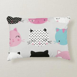 Kawai kitty head multi color cute girly chic fun accent pillow
