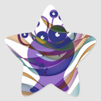 Kawai monster,colorful,abstract,fun,happy,kids star sticker