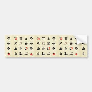 Kawai multi color asian good luck symbols cute fun car bumper sticker