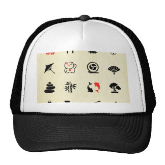 Kawai multi color asian good luck symbols cute fun trucker hat