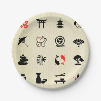 Kawai multi color asian good luck symbols cute fun 7 inch paper plate