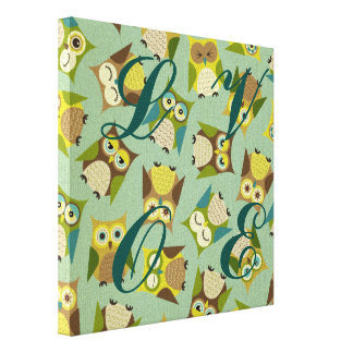 Kawai owls cute jade brown teal multi color girly canvas print