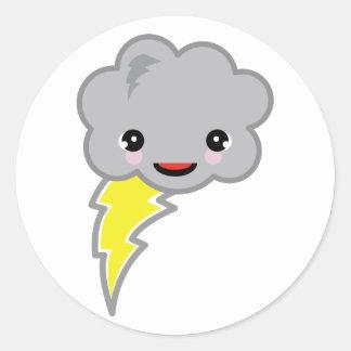 kawai storm cloud classic round sticker