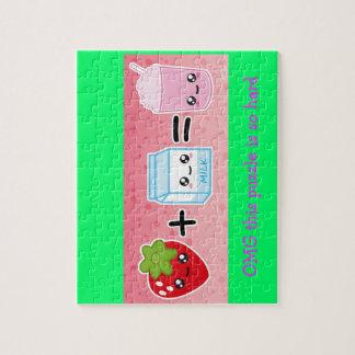 kawaii aardbei + melk =milkshake puzzel jigsaw puzzle
