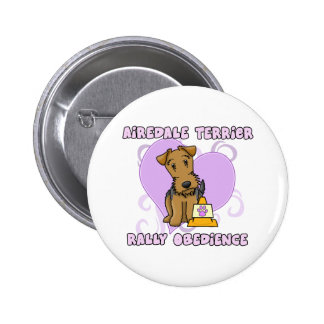 Kawaii Airedale Terrier Rally Obedience Button