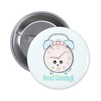 Kawaii Alarm Clock Pinback Button