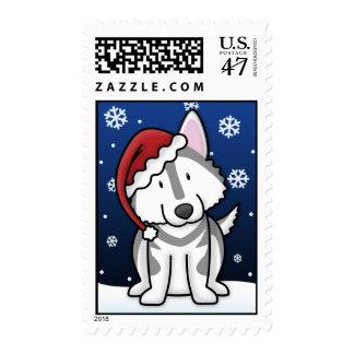 Kawaii Alaskan Malamute Christmas Postage Stamps