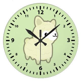 Kawaii alpaca large clock