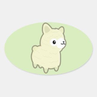 Kawaii alpaca oval sticker