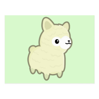 Kawaii alpaca postcard