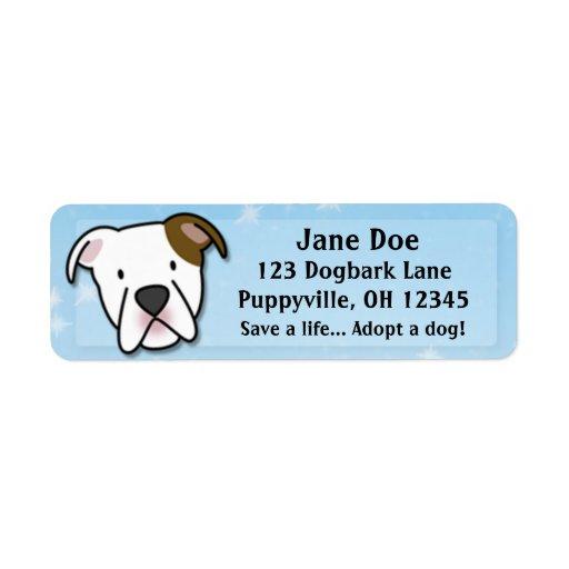 Kawaii American Bulldog Custom Return Address Labels