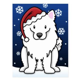 Kawaii American Eskimo Dog Christmas Postcard