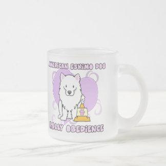 Kawaii American Eskimo Dog Rally Obedience Frosted Glass Coffee Mug