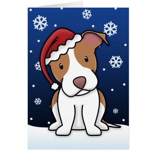 Kawaii American Pit Bull Terrier Christmas Card