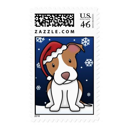 Kawaii American Pit Bull Terrier Christmas Stamps