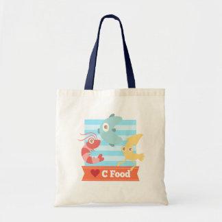 Kawaii and Funny Cartoon on C Food Seafood Canvas Bag