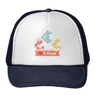 Kawaii and Funny Cartoon on C Food (Seafood) Hats