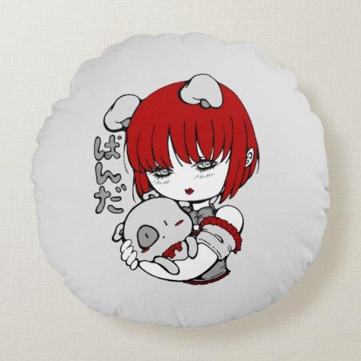Round Animal Pillows : kawaii animal manga girl round pillow Zazzle
