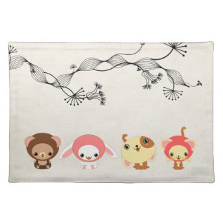 kawaii animals on vintage wrinkled old paper cloth placemat