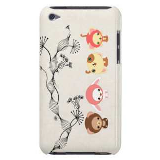 kawaii animals on vintage wrinkled old paper iPod Case-Mate case