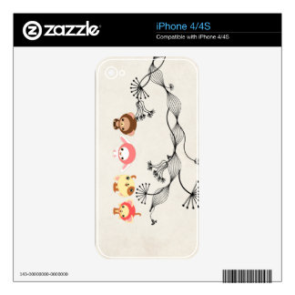 kawaii animals on vintage wrinkled old paper skins for the iPhone 4
