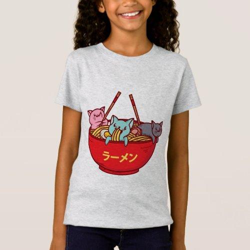 Kawaii Anime Cat Funny Adorable Japanese Ramen T_Shirt