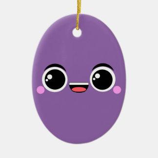 Kawaii Anime Faced Purple Ceramic Ornament