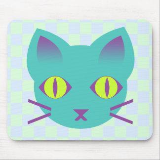Kawaii Anime Kitty Cat Blue & Green Checks Mouse Pad