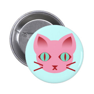 Kawaii Anime Kitty Cat Pink Teal Red Button