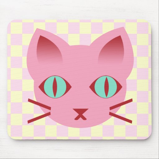 Kawaii Anime Kitty Cat Pink & Yellow Checks Mouse Pad
