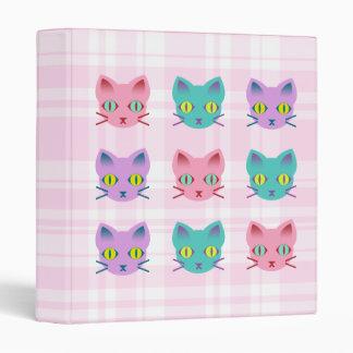 Kawaii Anime Kitty Cats Pink Plaid 3 Ring Binder