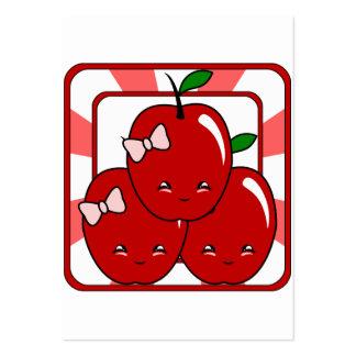 Kawaii Apple Basket (Girl) Large Business Cards (Pack Of 100)