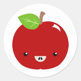 Kawaii Apple buddy Classic Round Sticker